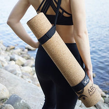 "Load image into Gallery viewer, CORK YOGA NON-SLIP MAT + FREE YOGA STRAP (72"" x 24"" x 4mm thick)- NATURAL RUBBER, Eco Friendly, Non-Toxic, Latex Free, Antimicrobial, 100% Biodegradable. YOGA INSTRUCTOR'S CHOICE"