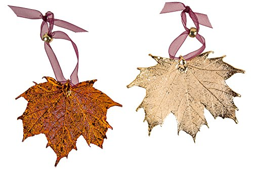 Leaf Ornaments, Maple Set - Iridescent and Gold Plated. Sugar and/or Full Moon