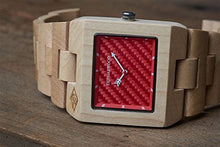 "Load image into Gallery viewer, The Garwood American Maple Wood Watch – ""Great Dane"" – Square – Analog – 12-Month Warranty"