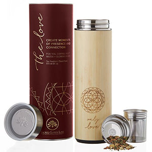 Bamboo Tumbler 18 oz Thermos for Loose Leaf Tea, Coffee Mug & Fruit Water w/Stainless Steel Infuser. Vacuum Insulated Travel Bottle. Leak Proof + BPA Free. Beautifully Packaged with Gift Card + Poem.