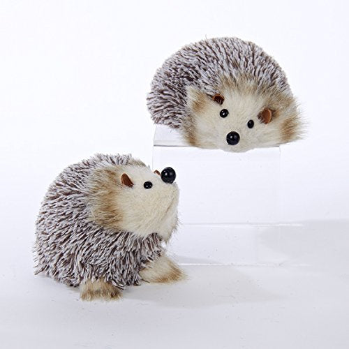 Kurt Adler White and Brown Hedgehog Christmas Ornaments 2 Assorted
