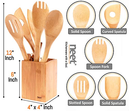Organic Bamboo Cooking Utensils Set, Unique Elevation Feature, 6 Piece Set,  Wooden Spoons Spatula, Kitchen Utensil Set, High Heat Resistant, Wood ...