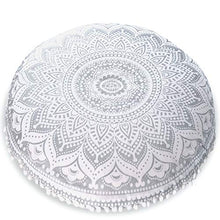 "Load image into Gallery viewer, Mandala Life ART Bohemian Yoga Decor Floor Cushion Cover - 30"" Round Meditation Pillow Case - Pouf Cover - Metallic Silver - Hand Printed - Organic Cotton"