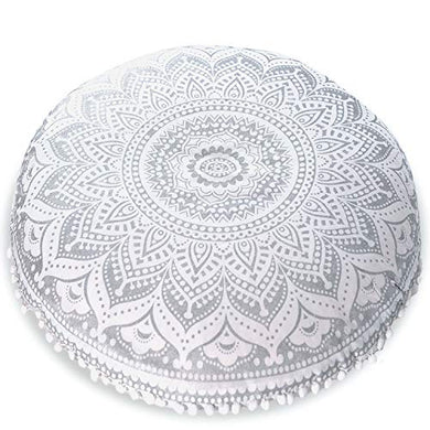 "Mandala Life ART Bohemian Yoga Decor Floor Cushion Cover - 30"" Round Meditation Pillow Case - Pouf Cover - Metallic Silver - Hand Printed - Organic Cotton"