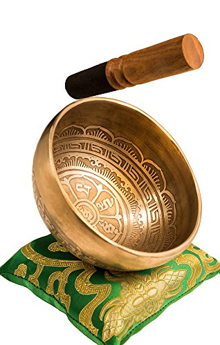 Tibetan Handmade Singing Bowl Set By YAK THERAPY - Om Mani Padme Hum - Excellent Resonance Healing & Meditation Yoga Bowl with Mallet, Silk Cushion & Silk Bag – Crown Chakra Balancing, Made in Nepal