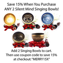 Load image into Gallery viewer, Silent Mind ~ Tibetan Singing Bowl Set ~ Bronze Mantra Design ~ With Mallet & Silk Cushion ~ For Meditation, Chakra Healing, Yoga, and Mindfulness ~ Perfect Gift