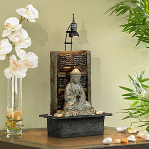 "Namaste Buddha 11 1/2"" High Indoor Table Fountain"