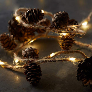 SR T.C-LIGHT Christmas Fairy Lights, Twine & Cone Copper Led Fairy Lights, Pine Cones Christmas Lights for Garland Lights Christmas Holiday Tree and Home Decor (Color : Yellow, Size : 200CM)