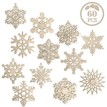 Load image into Gallery viewer, 60 Pieces Christmas Wooden Snowflake Ornaments Unfinished Snowflakes Wood Slices Crafts Wood Kit with Strings for DIY Crafts Christmas Hanging Ornaments Holiday Decorations(12 Shapes)