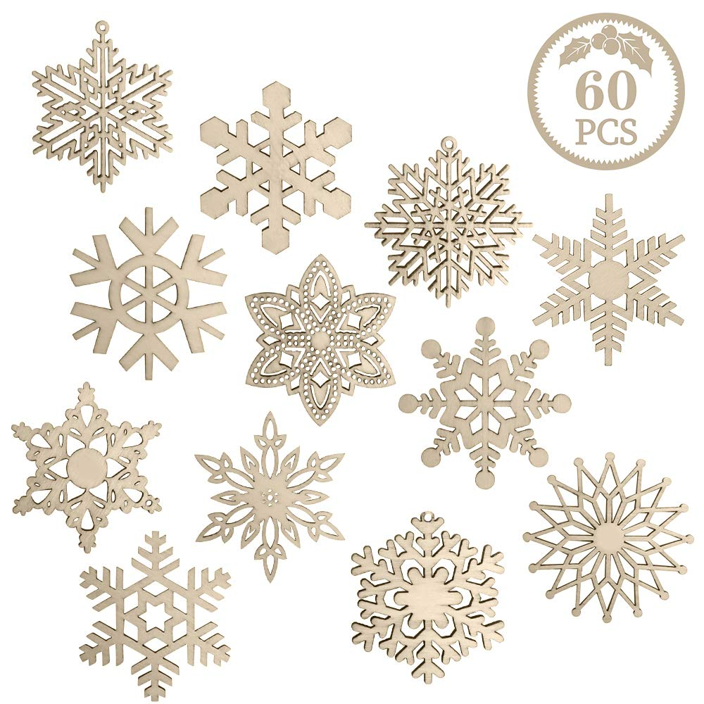 60 Pieces Christmas Wooden Snowflake Ornaments Unfinished Snowflakes Wood Slices Crafts Wood Kit with Strings for DIY Crafts Christmas Hanging Ornaments Holiday Decorations(12 Shapes)