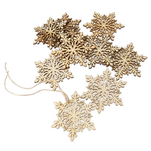 ROSENICE Wooden Snowflake Christmas Decoration Hanging Ornament Pendants Pack of 10