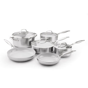 GreenPan CC000018-001 Stainless Steel Venice Pro Ceramic Non-Stick 10Pc Cookware Set, Light Grey