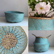 Load image into Gallery viewer, COCOBOO - Blue Paper Seagrass Belly Basket, Storage, Laundry Basket, Handmade, Lightweight, Foldable (14 x 13 inches) Large