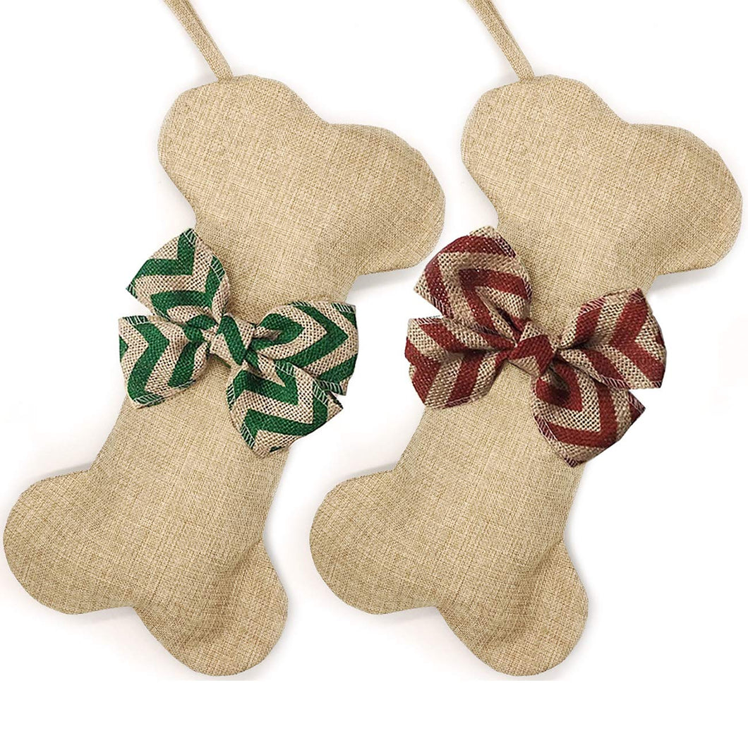 Malier 2 Pack Pet Christmas Stocking for Dogs Cats Pets Jute Natural Burlap Dog Bone Shape Hanging Dog Christmas Stocking - Red Stripe&Green Stripe