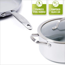 Load image into Gallery viewer, GreenPan CC000018-001 Stainless Steel Venice Pro Ceramic Non-Stick 10Pc Cookware Set, Light Grey