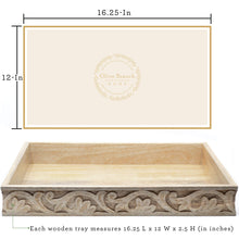 Load image into Gallery viewer, Olive Branch Home Wooden Decorative Serving Tray & Coffee Table Tray, Beautifully Carved Natural Mango Wood 16.25-in x 12-in