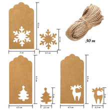 Load image into Gallery viewer, Aneco 150 Pieces Paper Tags Kraft Christmas Tags Hang Labels Christmas Tree Snowflake Reindeer Design for Christmas Gift Favor,DIY Arts and Crafts Wedding Supply with 30 Meters Twine