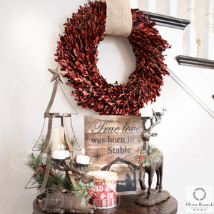 Olive Branch Home Red Christmas Preserved Boxwood Wreath with Gift Box 22 Inch X-Large