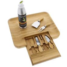 Load image into Gallery viewer, Beautiful Bamboo Cheese Board & Knife Set For Mom, Mother, Housewarming & Wedding Gift - Elegant Wood Meat Platter Charcuterie Set - Exclusive Cheeseboard With 4 Cheese Knives & Conditioning Oil Spray