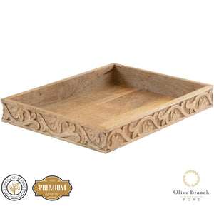 Olive Branch Home Wooden Decorative Serving Tray & Coffee Table Tray, Beautifully Carved Natural Mango Wood 16.25-in x 12-in