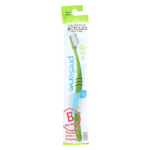 Preserve Adult Toothbrush In A Lightweight Pouch, Soft - 6 Pack - Assorted Colors