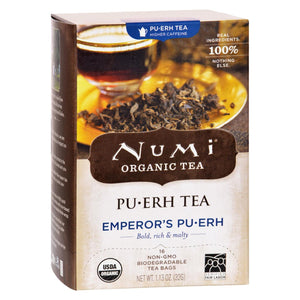 Numi Emperor's Puerh Black Tea - 16 Tea Bags - Case Of 6