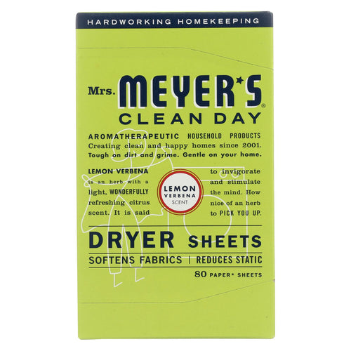 Mrs. Meyer's Clean Day - Dryer Sheets - Lemon Verbena - Case Of 12 - 80 Sheets