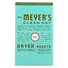 Load image into Gallery viewer, Mrs. Meyer's Clean Day - Dryer Sheets - Basil - Case Of 12 - 80 Sheets