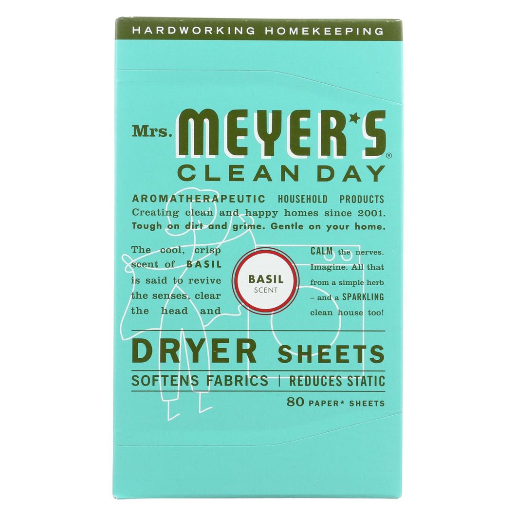 Mrs. Meyer's Clean Day - Dryer Sheets - Basil - Case Of 12 - 80 Sheets