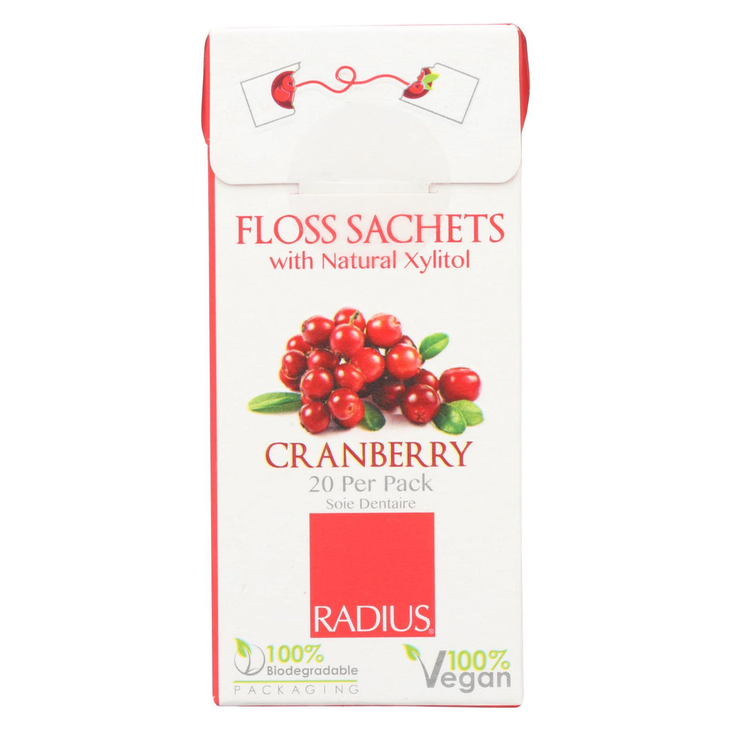 Radius - Floss Sachets With Natural Xylitol - Cranberry - Case Of 20