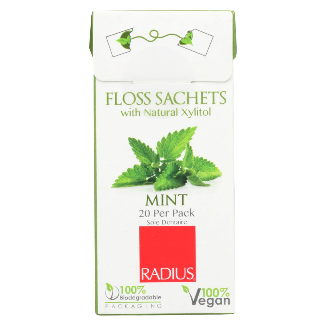 Radius - Floss Sachets With Natural Xylitol - Mint - Case Of 20