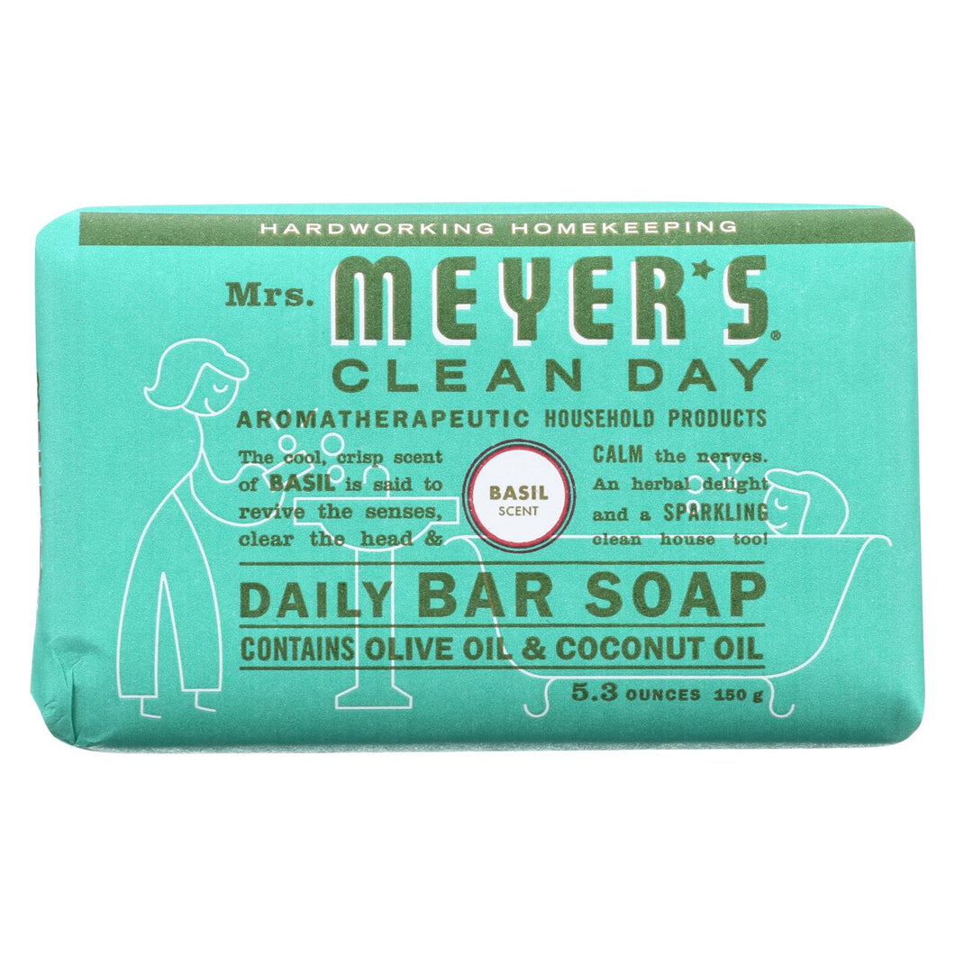 Mrs. Meyer's Clean Day - Bar Soap - Basil - 5.3 Oz - Case Of 12