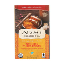 Load image into Gallery viewer, Numi Tea - Organic - Turmeric - Three Roots - 12 Bags - Case Of 6