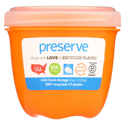 Preserve Food Storage Container - Round - Mini - Orange - 8 Oz - 1 Count - Case Of 12