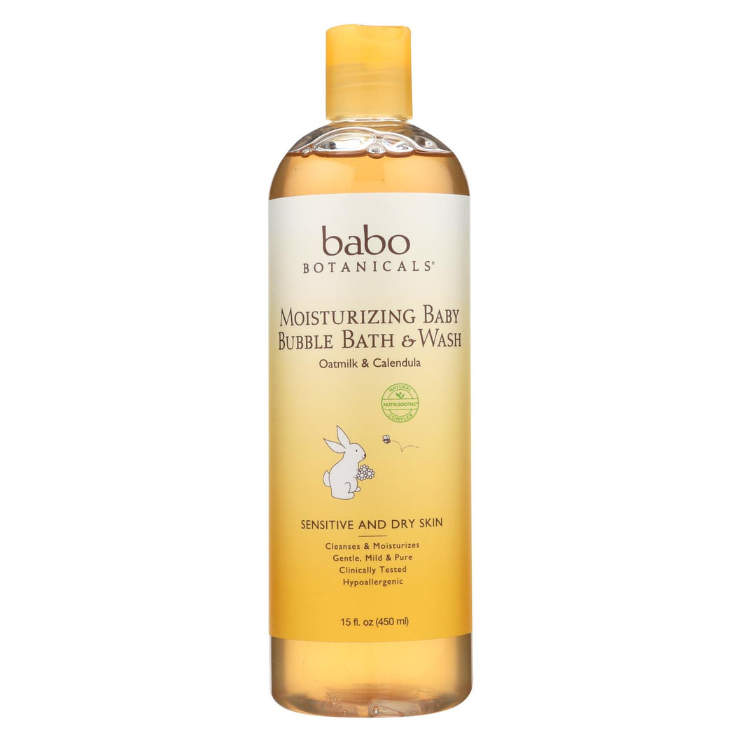 Babo Botanicals - Baby Bubble Bath And Wash - Moisturizing - Oatmilk - 15 Oz