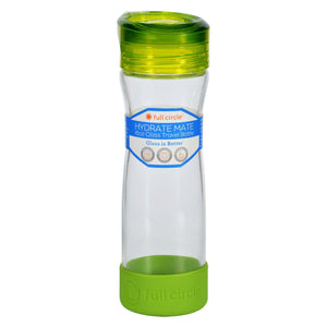 Full Circle Home Water Bottle - Travel - Glass - Hydrate Mate - Green Slate - 16 Oz
