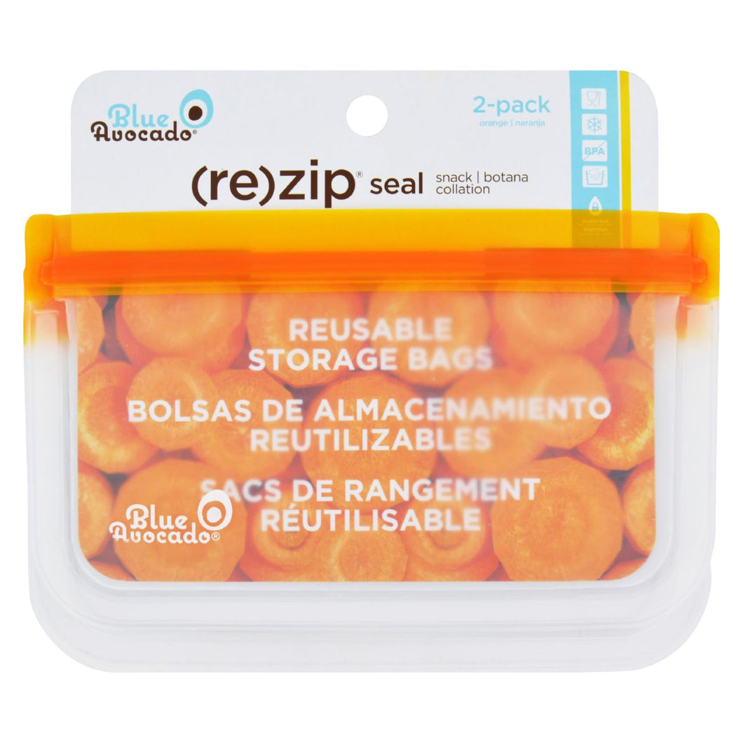 Blue Avocado - Bag - Re-zip - Snack - Orange - 2 Count