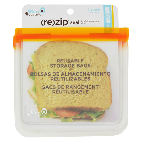 Blue Avocado - Lunch Bag - Re-zip Seal - Orange - 2 Pack
