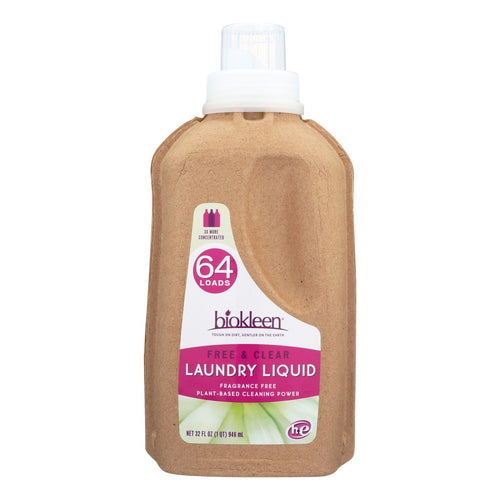 Biokleen Laundry Liquid - Free And Clear - Bio - 32 Oz - Case Of 6