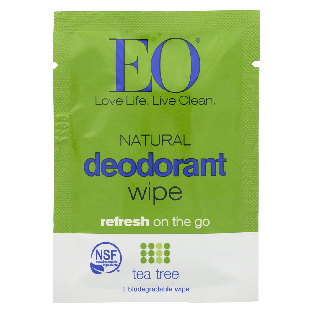 Eo Products - Deodorant Wipes - Tea Tree - Case Of 24 - 1 Each