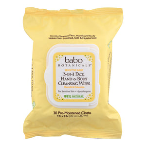 Babo Botanicals - Hand And Body Cleansing Wipes - Oatmilk And Calendula - Case Of 4 - 30 Count