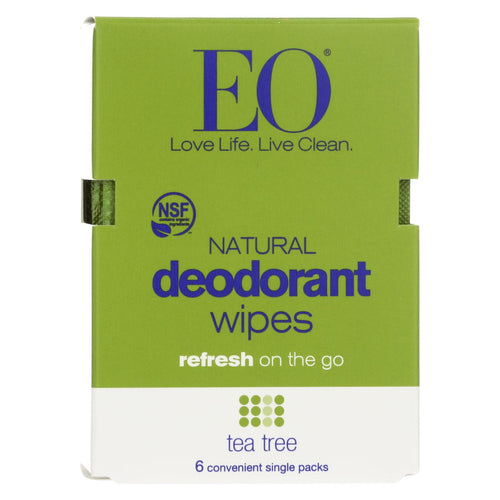 Eo Products - Deodorant Wipes - Tea Tree - Case Of 12 - 6 Count