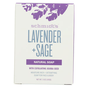 Schmidt's Deodorant Bar Soap - Lavender & Sage - Case Of 6 - 5 Oz