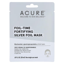 Load image into Gallery viewer, Acure - Mask - Foil - Time Fortifying Silver Foil Mask - Case Of 12 - 0.67 Fl Oz.