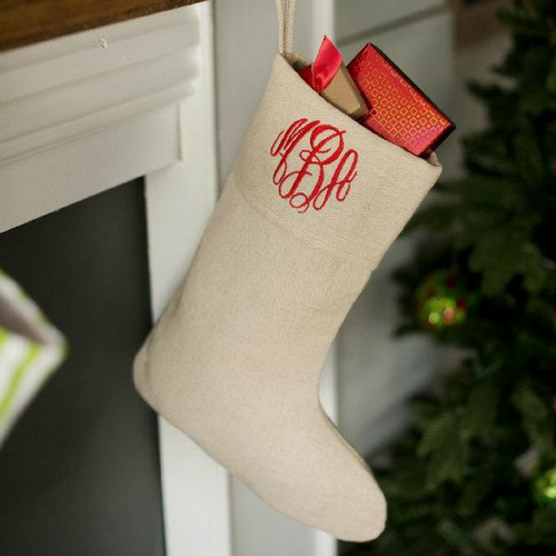 Monogrammed Natural Christmas Stockings