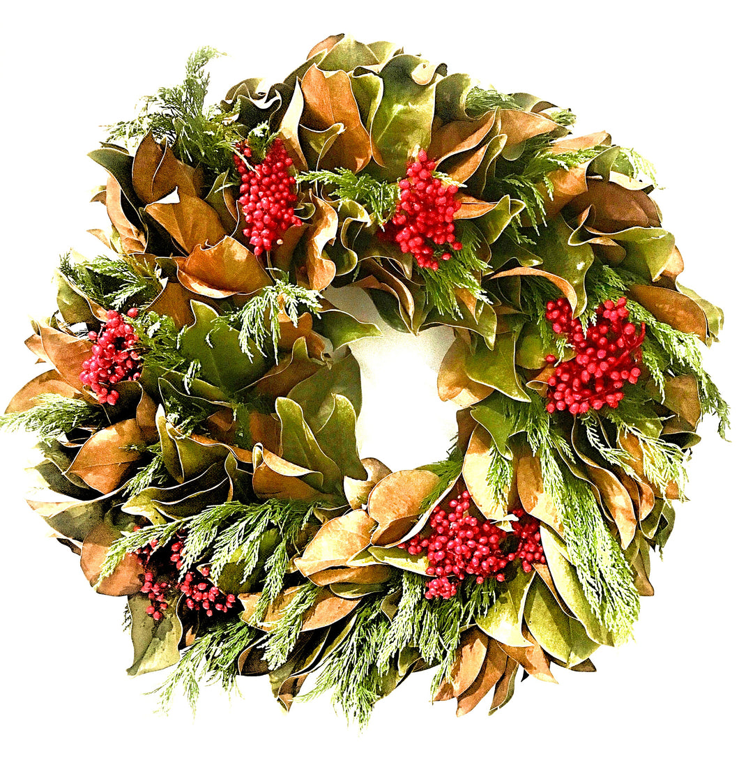 Magnolia with Red Canella Berry Wreath