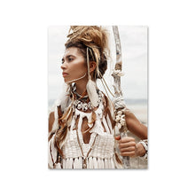 Load image into Gallery viewer, Wild Boho Woman Grass Reeds Poster Nordic Canvas Wall Art Print Nature Landscape Painting Decorative Picture Scandinavian Decor