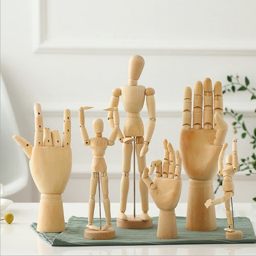 Creative Wooden Art Model Ornaments Wooden Doll Joint Hands Home Living Room Office Desktop Decorations