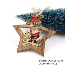 Load image into Gallery viewer, 4PCS Star Printed Wooden Pendants Ornaments Xmas Tree Ornament DIY Wood Crafts Kids Gift for Home Christmas Party Decorations