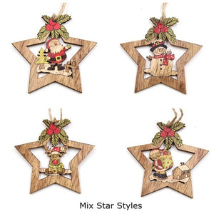 4PCS Star Printed Wooden Pendants Ornaments Xmas Tree Ornament DIY Wood Crafts Kids Gift for Home Christmas Party Decorations